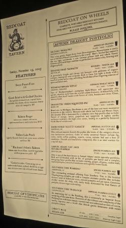 Images of Red Coat Tavern Menu - Reikian