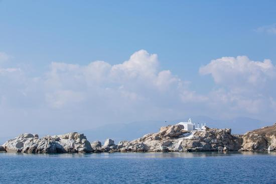 The islet Parthena with the chapel of Panagia at Mikri Vigla, Naxos.