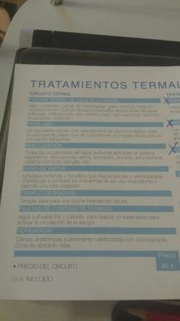 Paracuellos de Jiloca, España: Los tratamientos y precios
