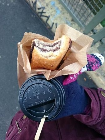 Goodies Berlin: Chocolate twist pastry and cappuccino