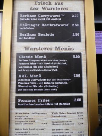 Wursterei: menu with pricing