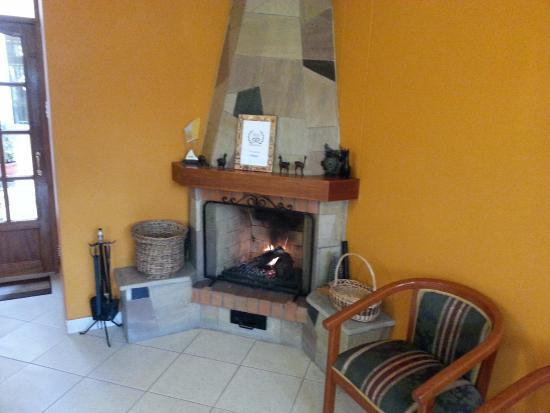 Hotel Torre Dorada: Камин в лобби