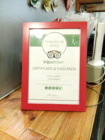 Trip Adviser certificate for Primo Basilico