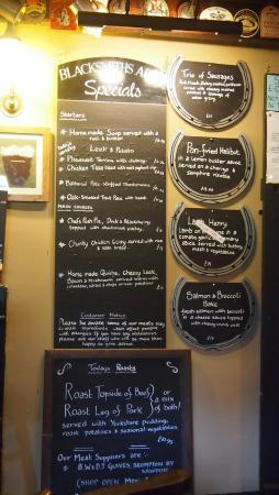 Lastingham, UK: the specials board, so many options!