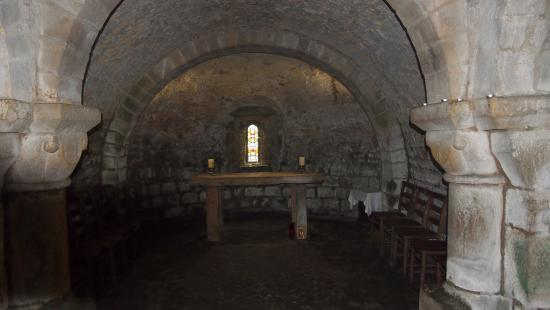 Lastingham, UK: the crypt: vaulted ceilings and carved walls