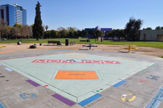 Guadalupe River Park: BIG Monopoly game surface in the park