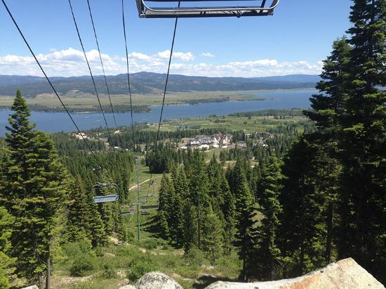 Tamarack, ID: View of Lake Cascade while hiking under the ski lift