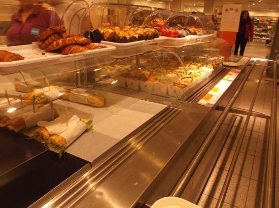 Hema : Food on sale in the top floor restaurant.