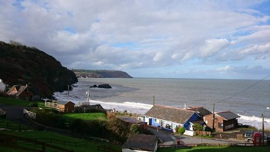 Tresaith, UK: View down to the beach