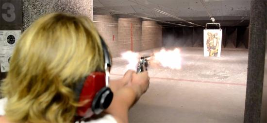 Shooting with revolver