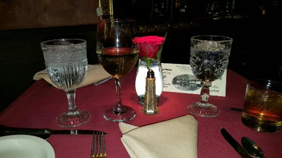 Relics Restaurant : Main dining room, Ghost place setting,House red