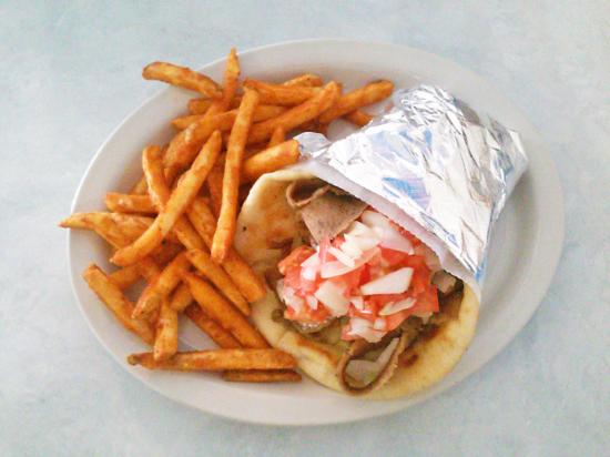 The Greek Village : giant gyros and fries