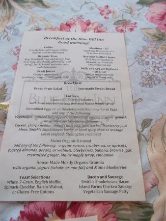 The Blue Hill Inn: breakfast menu