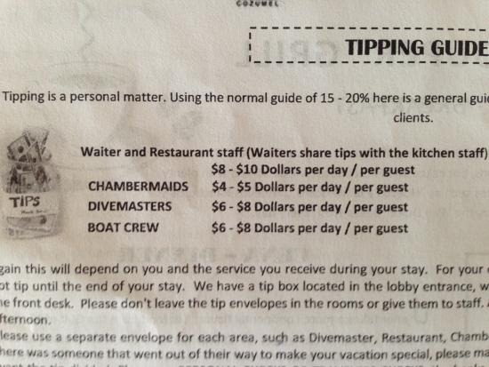 Scuba Club Cozumel : Tipping Schedule