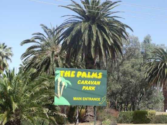 The Palms Caravan Park: Sign out Front