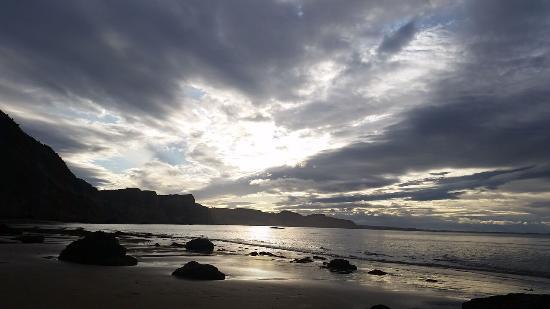 Gannet Colony: Sunset over the ocean