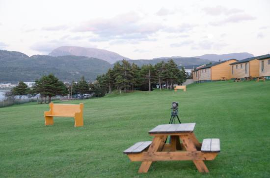 Gros Morne Cabins - the picnic tables on the lawn that goes to the shore of Rocky Harbour