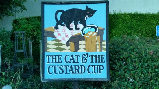 Cat & The Custard Cup: Sign from parking lot