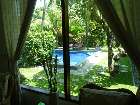 Looking out from the villa room.