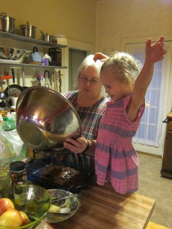 Stockholm, WI: Making brownies with Nana