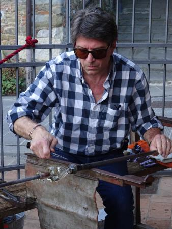 Glassblowing during the Piegaro chestnut festival