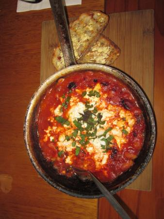 Baked eggs with C & B Beans and toasted Sourdough bread