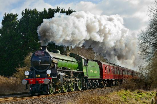 Guildford, UK: B1 Mayflower hauling The Cathedrals Express from London to Cardiff
