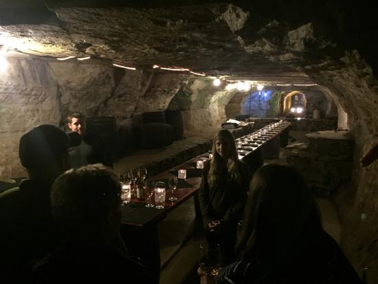 Joseph Wolf Brewery Cave Tours: Tasting table