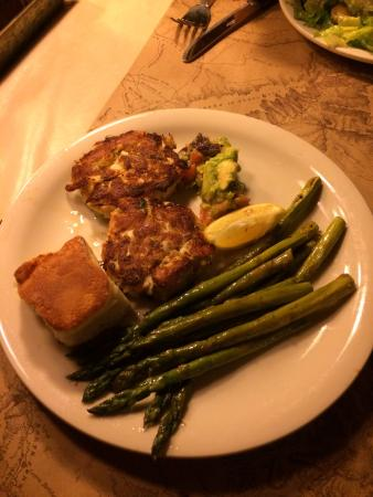 St Phillips Island Crab Cake (meal) with asparagus - Picture of ...