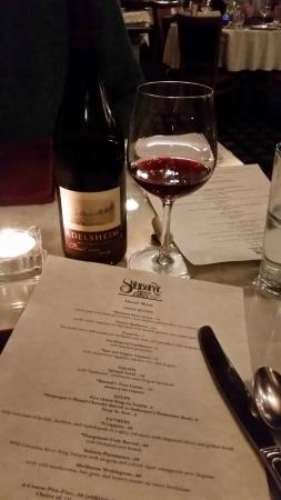 The Shelburne Restaurant & Pub: Dinner menu with a delicious bottle from Adelsheim