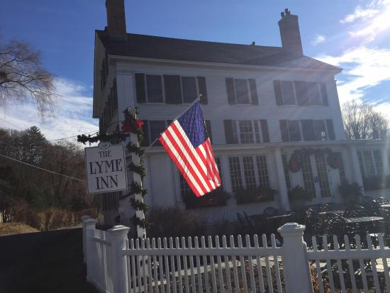Sunny Brisk day THe Lyme Inn, warm and cozy inside!