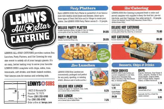 Lenny's Subs Menu - Picture of Lenny's Sub Shop, Houston ...