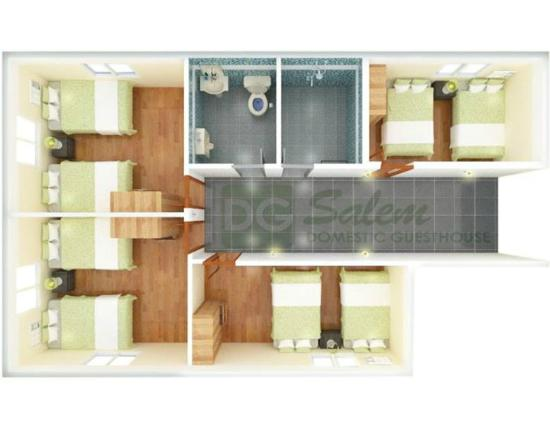 Shared bathroom area layout picture of dg budget hotel for Shared bathroom layout