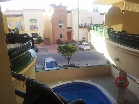 Apartamentos Mediterraneo: view from balcony out door pool