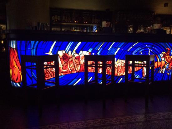 Communion Bar: Stunning stained glass at the bar