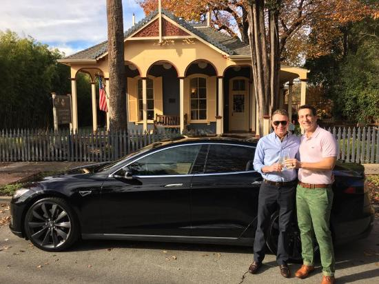 Tesla Tour Departure From Brannan Cottage Inn Picture Of Brannan Cottage Inn Calistoga Tripadvisor