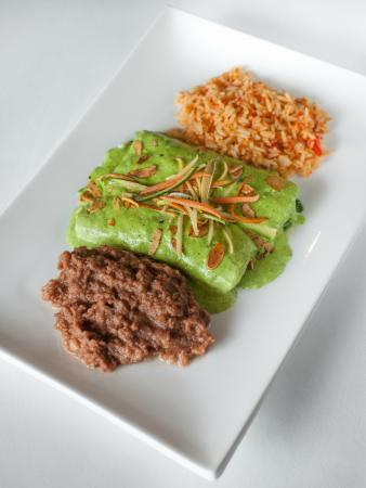 Armandos: Spinach Enchiladas with creamy leek sauce and Mexican rice and refried beans