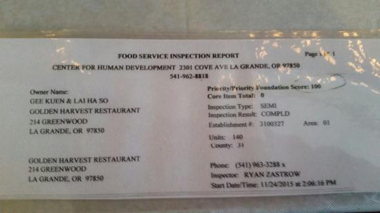 La Grande, OR: Guess who scored 100, once again, on their health inspection? You guessed it, we did!! Here is t