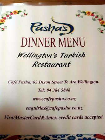 Cafe Pasha Wellington Menu