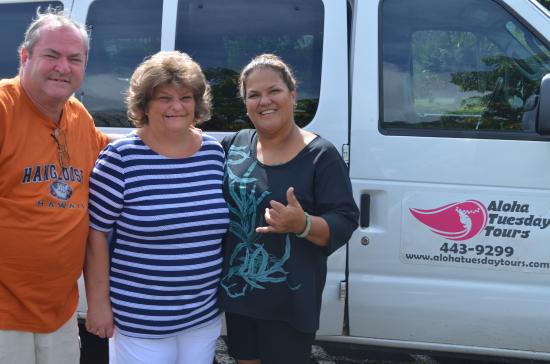 """Aloha Tuesday Tours-Private Day Tours: Us with our awesome guide """"Sweetheart"""""""