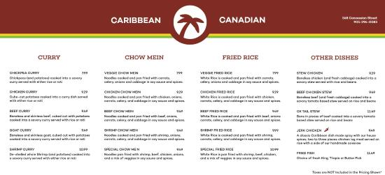 Menu Picture Of Caribbean Canadian Fast Food Hamilton
