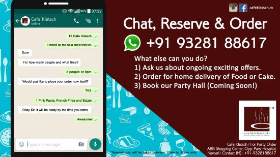 Cafe Klatsch: Whatsapp Online Reservation System