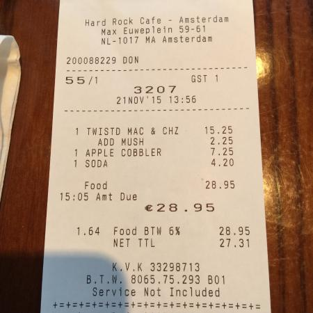 Sample Bill At Hard Rock Caf 233 Amsterdam Picture Of Hard