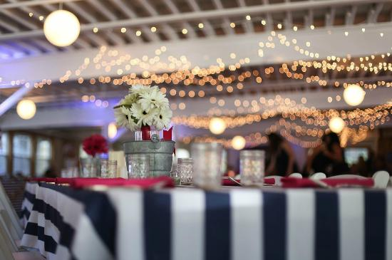 Foster\u0027s Clambakes \u0026 Catering Navy burgundy and white wedding table decor in the Foster\u0027s & Wedding table setting with Maine themed driftwood sailboat table ...