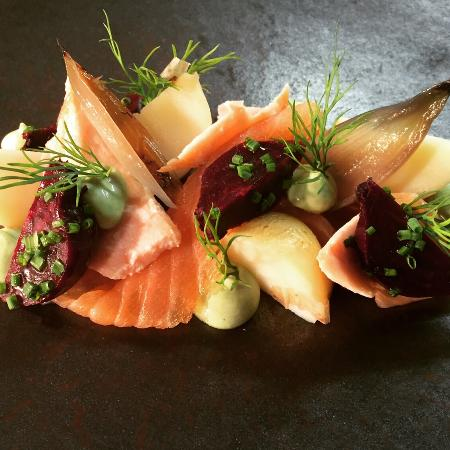 Purslane Restaurant: Smoked and confit salmon with pickled vegetables