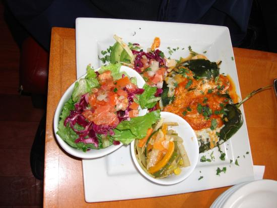 Mexican Amigos: Chili Rellenos (2) with side salad and vegetables