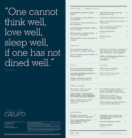 Azzurro: Κατάλογος φαγητού( Menu a la carte)
