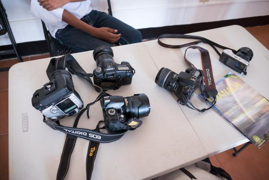 Granada, Nikaragua: the kids cameras - they have some old ones but they make do with what they have