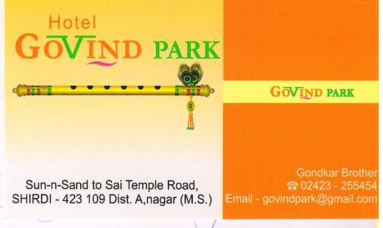 Visiting Card Picture Of Hotel Govind Park Shirdi
