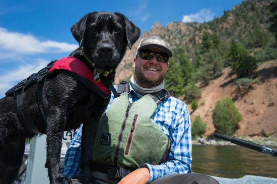 Edwards, CO: VVA Pro Guide Justin Carr and Tess his trusty boat dog!